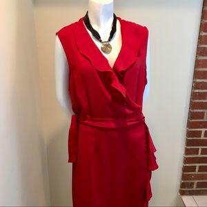 New Ashley Stewart V-neck red ruffle wrap dress 20